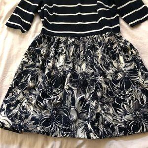 Navy stripe/floral dress